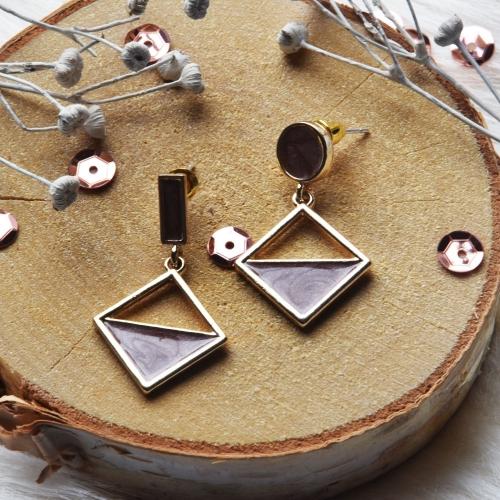 Oorstekers cirkel & driehoek bruin