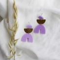 Oorstekers stoffen roosje ruitjespatroon +kleuren